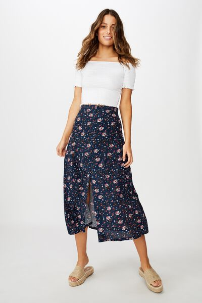 Summer Button Midi Skirt, LUNA FLORAL PAISLEY TOTAL ECLIPSE