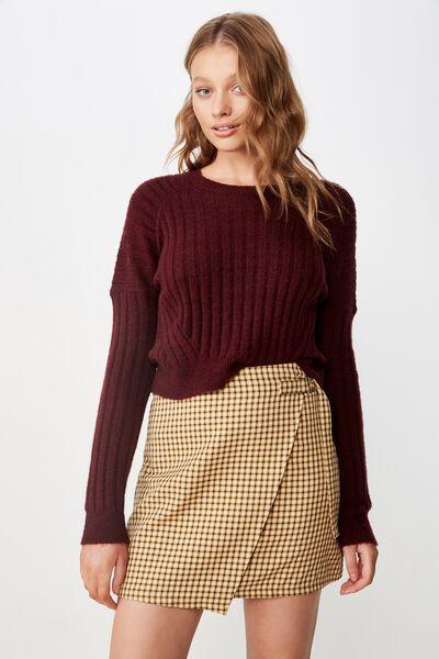 Woven Ivy Check Mini Skirt, MILLIE HOUNDSTOOTH HONEY YELLOW