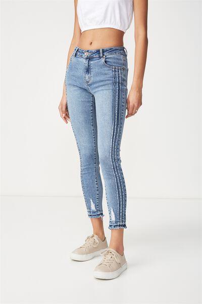 Mid Rise Grazer Skinny Jean, MID BLUE TRIPLE PINTUCK