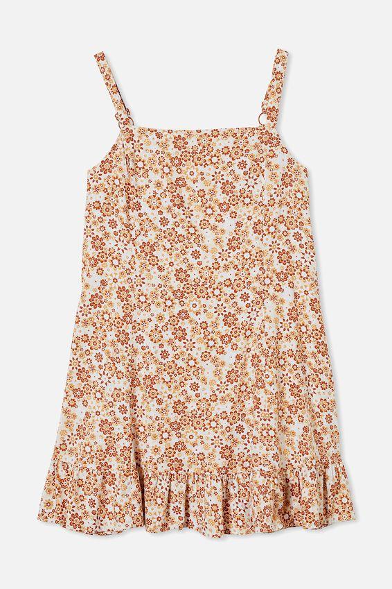 Curve Woven Tara Frill Hem Mini Dress, EMMA FLORAL WARM BRONZE