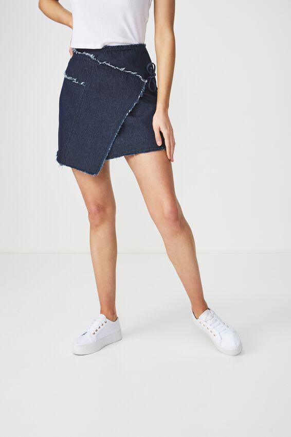 Wrap Denim Mini Skirt, DARK RINSE