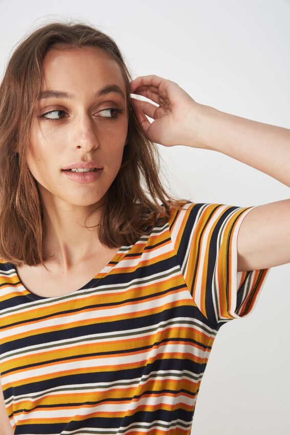 Bella Tie Front T-Shirt Dress, ASHA STRIPE NAVY