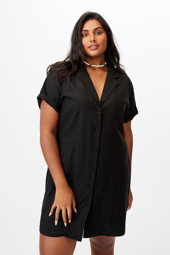 Curve Shirt Dress, BLACK