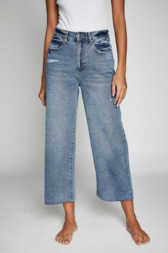 Wide Leg Cropped Jean, CALI BLUE
