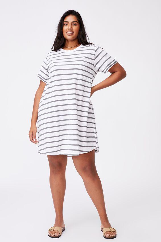 Curve Relaxed Tee Dress, NANCY STRIPE WHITE