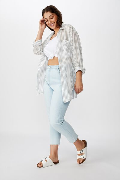 Curve Savannah Oversize Resort Shirt, ANGIE STRIPE MOOD INDIGO