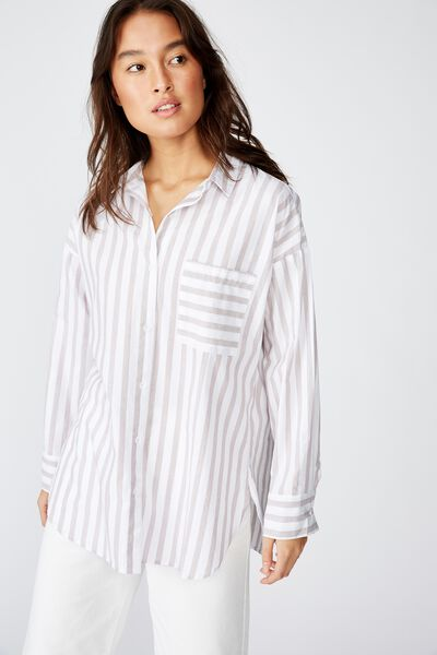 Pippa Oversize Shirt, KATIE STRIPE BROWNIE