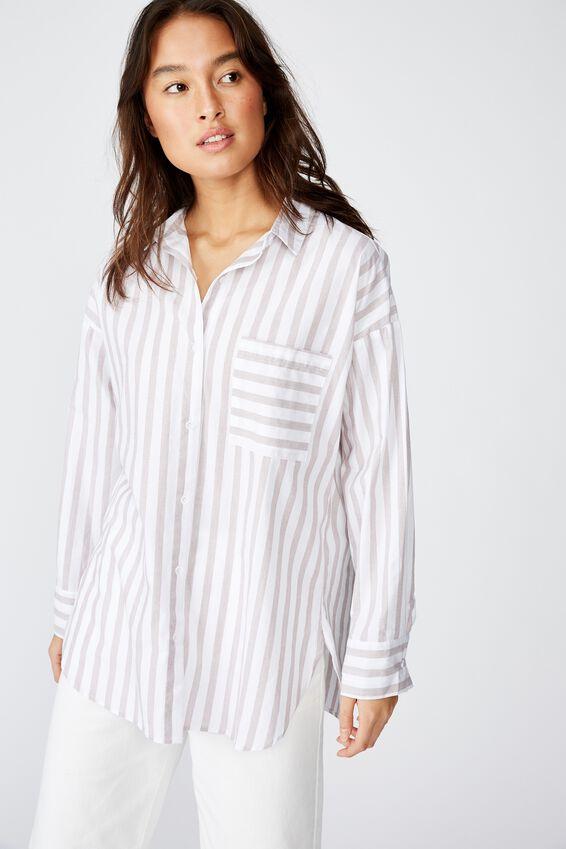 Pippa Oversize Shirt, KATIE STRIPE BROWNIE