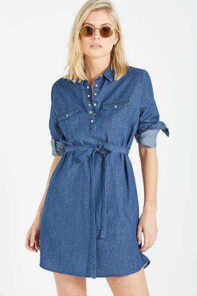 Woven Tammy Long Sleeve Shirt Dress, DARKER CHAMBRAY