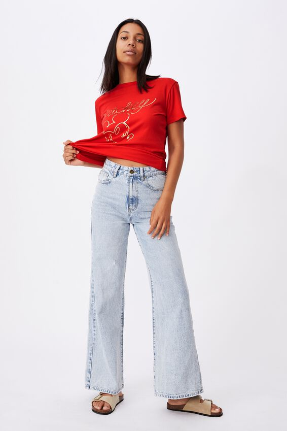 Classic Cny Graphic License T Shirt, LCN DIS MICKEY LINE/LUCKY RED
