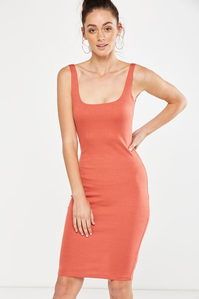 Kimi Scooped Bodycon Midi Dress, REDWOOD