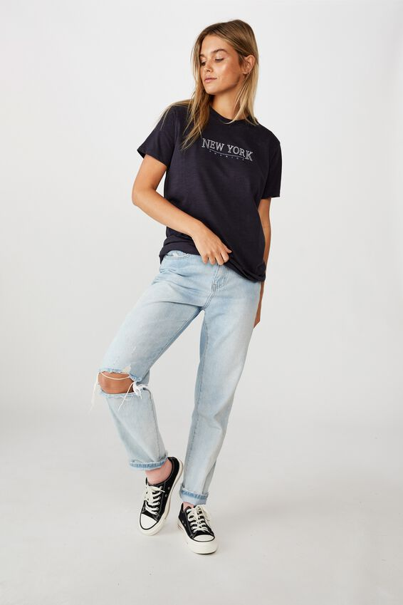 Classic Slogan T Shirt, NEW YORK/MOONLIGHT SLUB