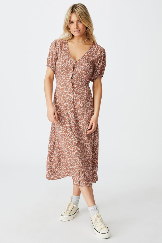 Woven Clara Button Through Midi Dress, KAYLA DITSY MID BROWN