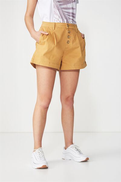Button Front Short, SPRUCE YELLOW