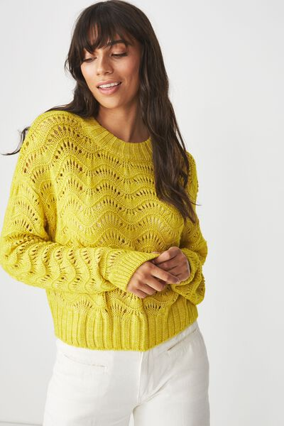 Cropped Pointelle Pullover, ANTIQUE MOSS