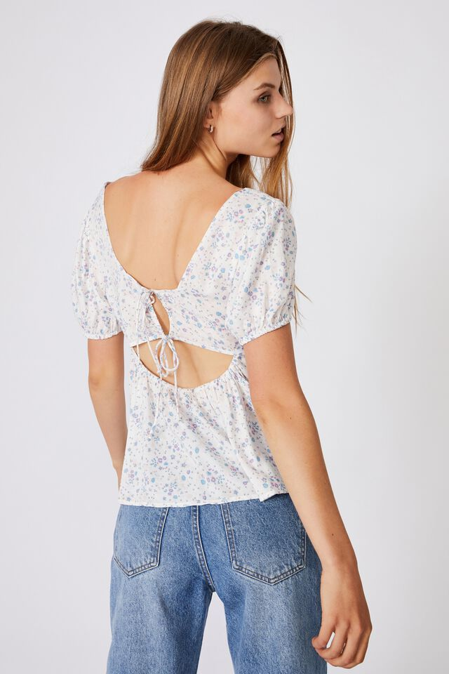 Maggie Tie Back Babydoll Blouse, LIBBY DITSY WHITE