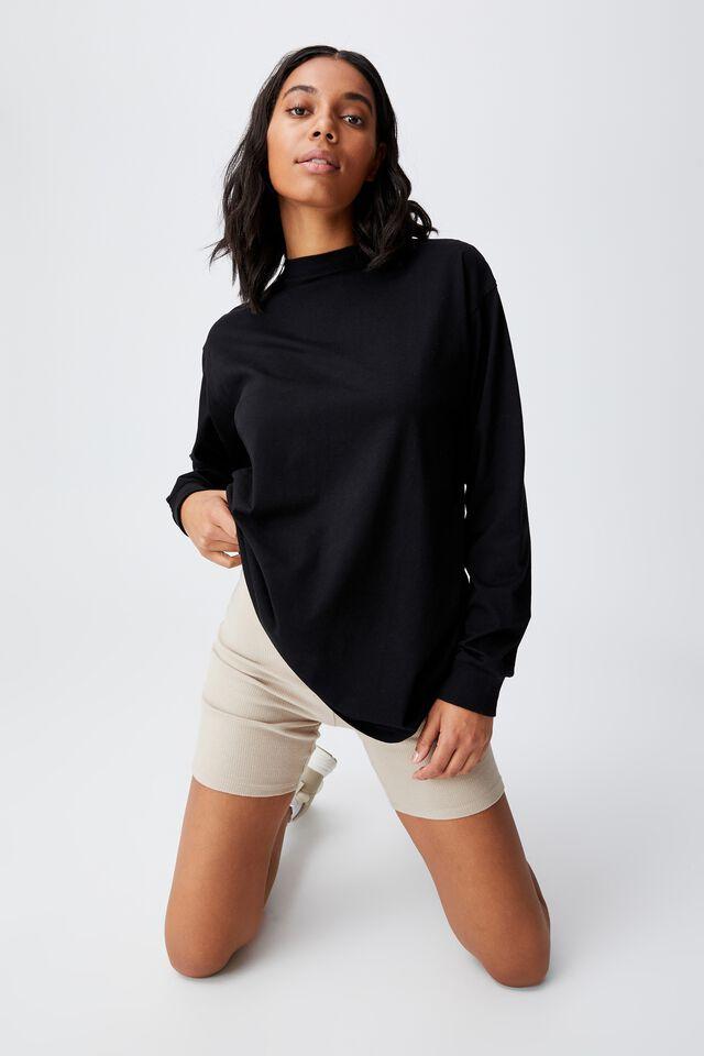 Basic Oversized Long Sleeve Top, BLACK