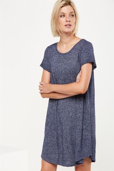 Tina Tshirt Dress 2, NAVY/WHITE FLECK