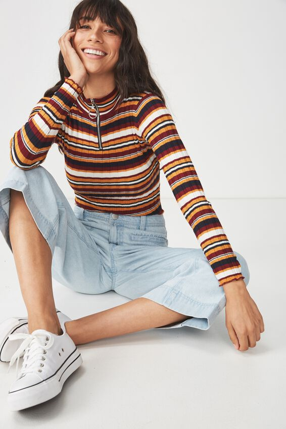 Quinny Zip Neck Pullover, MULTI STRIPE