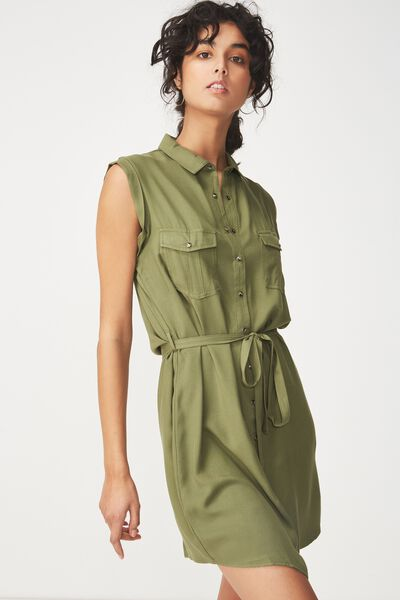 Woven Tilly Sleeveless Shirt Dress, SOFT KHAKI