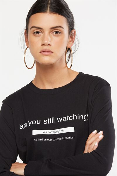 Tbar Tammy Chopped Graphic Long Sleeve Tee, STILL WATCHING/BLACK