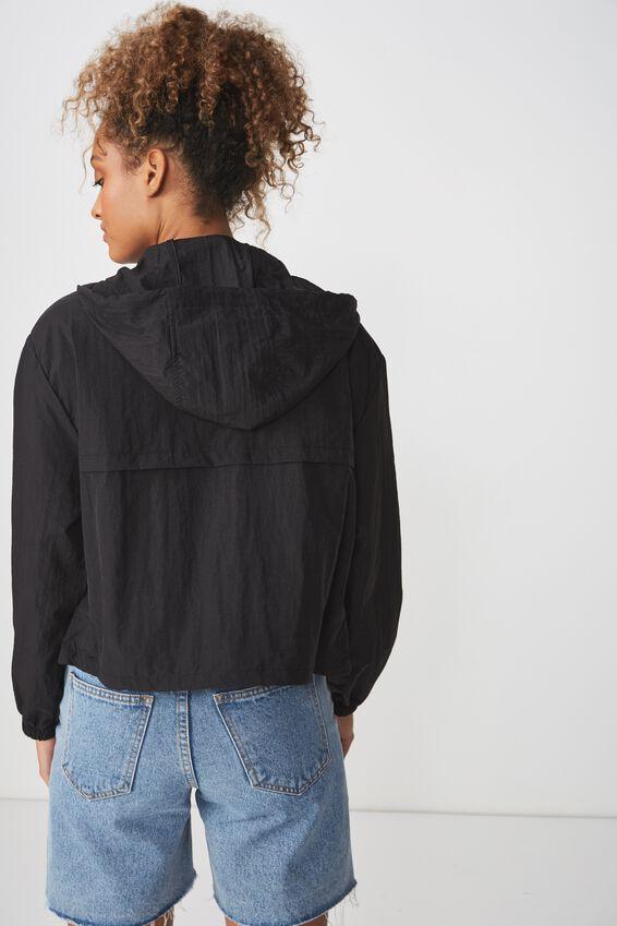 Tahlia Cropped Spray Jacket, BLACK
