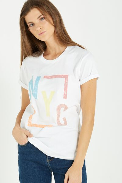 Tbar Fox Graphic T Shirt, NYC SQUARE/WHITE
