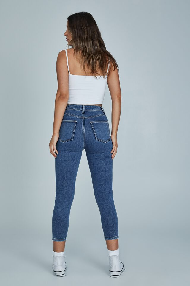High Rise Cropped Super Stretch, LUCKY BLUE POCKETS