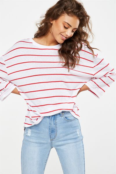 Jackie Oversized Long Sleeve Top, TRAY STRIPE WHITE/CHERRY RED