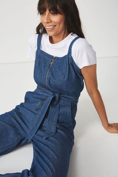 Woven Coco Strappy Zip Jumpsuit, BLUE