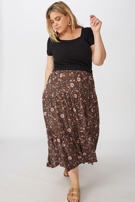 Curve Jasmine Maxi Skirt, JORDYN FLORAL RAVEN