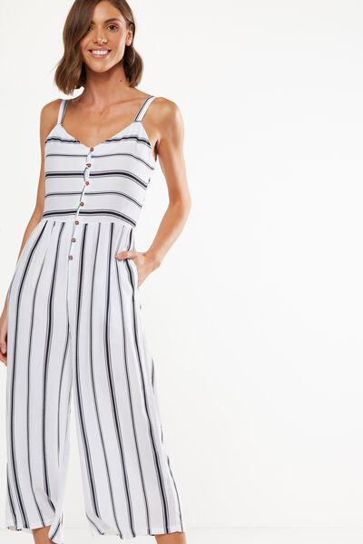 Woven Tors V Neck Jumpsuit, LEXI SPLICED VERITICAL STRIPE BRIGHT WHITE