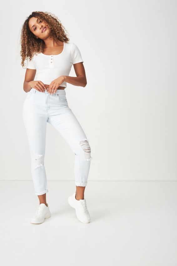 High Rise 90S Stretch Jean 2, BLEACH BLUE RIP