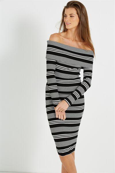 Alisa Long Sleeve Off The Shoulder Dress, BLACK/GREY/WHITE LIBERTY STRIPE