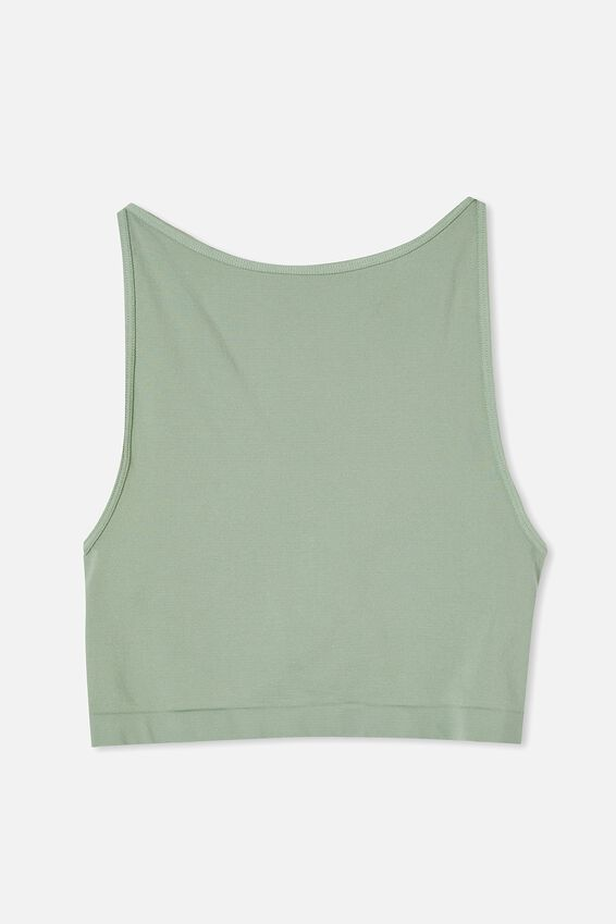 Rosetta Seamless High Neck Tank, LUSH GREEN