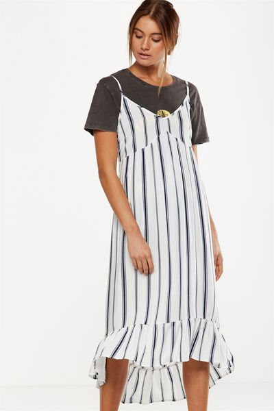 Woven Stevie Frill Midi Slip Dress, BUST SEAM LEXI VERTICAL STRIPE BRIGHT WHITE