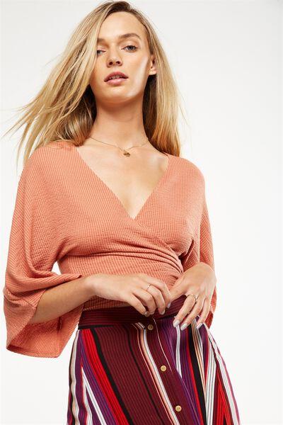 Jude Kimono Sleeve Top, BURNT SIENNA