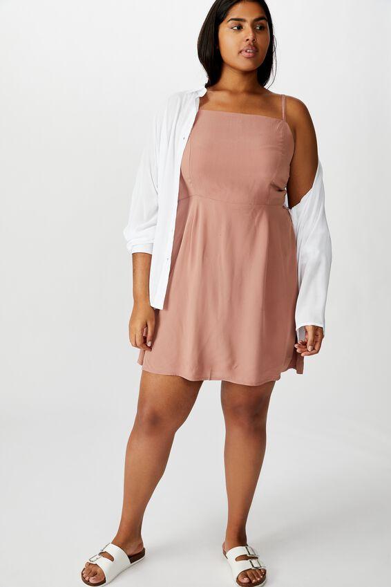 Curve Woven Kendall Dress, BURLWOOD