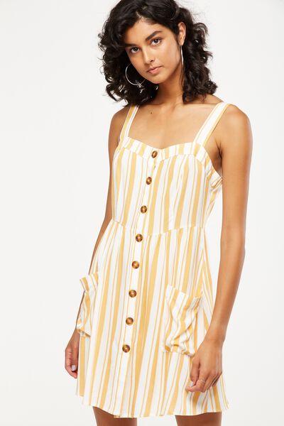 Woven Lollie Mini Dress, CHLOE STRIPE DANDELION