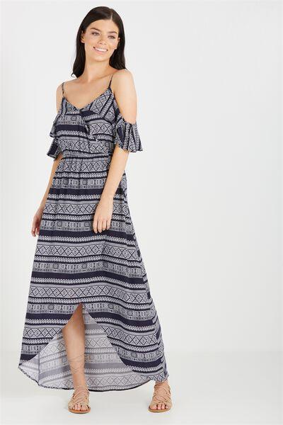 Woven Deb Cold Shoulder Maxi Dress, STEPH SPLICE NAVY