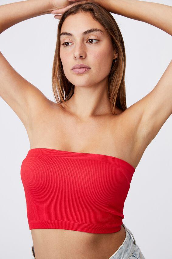 Samantha Seamless Rib Tube, LUCKY RED