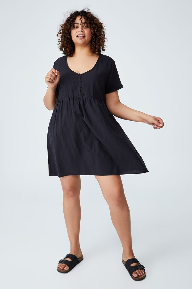 Curve Mini Button Up Beach Dress, WASHED BLACK