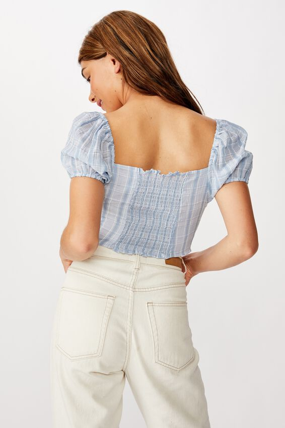 Sunrise Check Short Sleeve Rouched Top, CLAIRE CHECK FADED DENIM