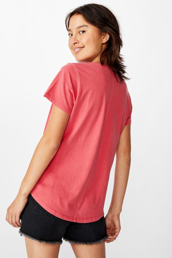 The One Crew Tee, WASHED SCARLET