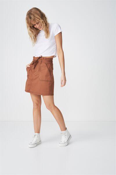 Woven Utility Twill Mini Skirt, TOBACCO