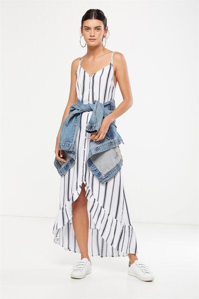 Woven Katrina Button Through Hi Low Maxi Dress, LEXI VERTICAL STRIPE BRIGHT WHITE