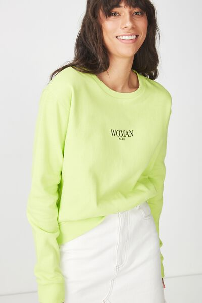 Ferguson Graphic Crew Sweater, WOMAN/GREEN GLOW