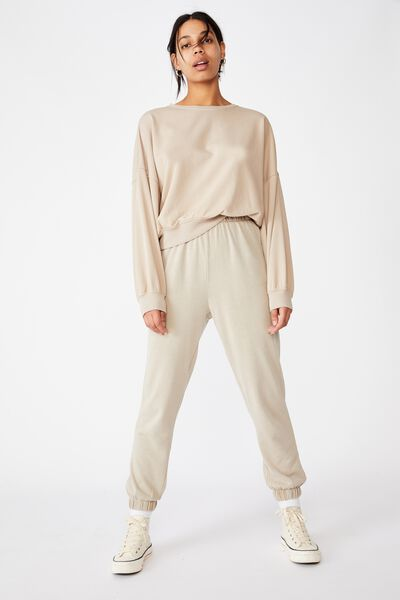 High Waisted Trackpant, VINTAGE TAUPE GARMENT PIGMENT DYE