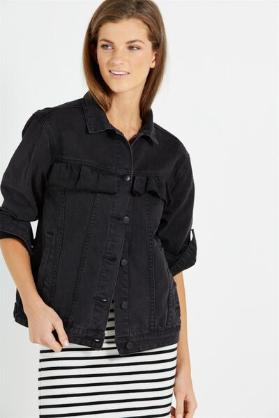 Boyfriend Trucker Frill Denim Jacket, WASHED BLACK