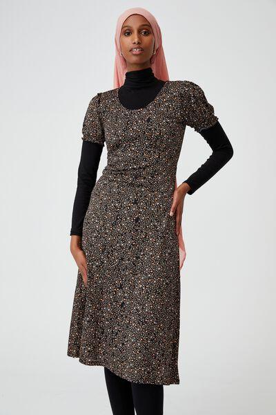 Elina Short Sleeve Midi Dress, ASHLEE DITSY BLACK